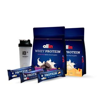 "image of זוג אבקות חלבון Allin WPC | אול אין מי גבינה סה""כ 4.5 קילו + 3 חטיפי אולאין 100 שוקולד פאדג' + שייקר קפיץ מתנה!"