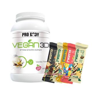 image of אבקת חלבון טבעונית Vegan 3D | ויגאן 3די 900 גרם + 5 חטיפי פנגיאה